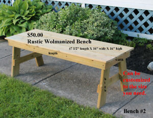 Handmade Wolmanized Benches