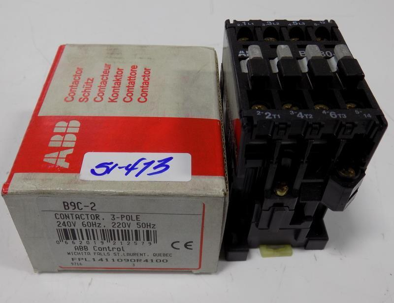 ABB CONTROL CONTACTOR 3POLE 240V B9C-2 NIB