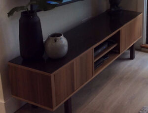 Walnut TV Stand with smoked glass top