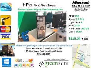 HP i5 tower First Gen  6 GB RAM  320 GB HD win 10 Office 10