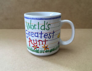 "Papel Hand Decorated Coffee/Tea Mug Cup ""World's Greatest Aunt"""