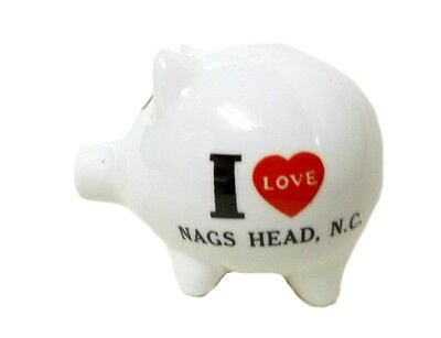 Vintage I Love Nags Head, NC White Ceramic Coin Pig Piggy Bank Souvenir