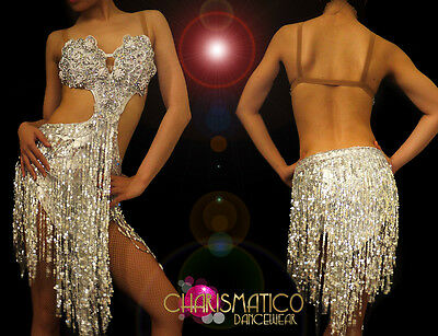 56174191d CHARISMATICO Latin Styled Silver Dance dress with sequin fringe and beadwork