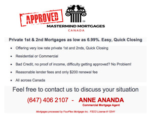 Private 1st & 2nd Mortgages as low as 6.99%. Easy, Quick Closing