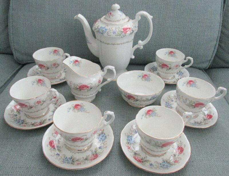 15 Pc Royal Standard Bone China Demitasse Pink & Blue Floral Coffee Pot Set