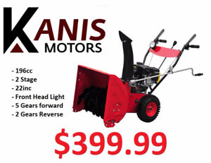 Brand New 196cc, 22inc, 2-Stage Snow blower on for $399.99!