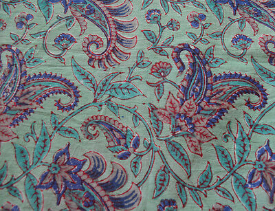 Flower Printed 100% Cotton Printed Paisley Hand Block Fabric Indian Ethnic Throw