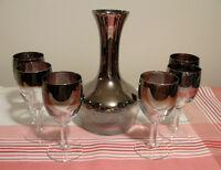 Décanteur à vin et 6 coupes vintage argentés effet miroir