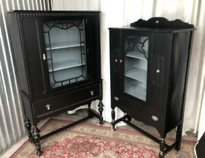 *** Two elegant antique display cabinets, distressed/accented