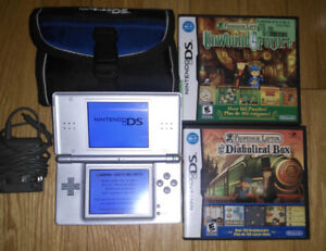 Nintendo DS with 2 games and case