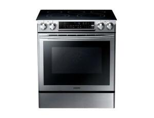 Samsung NE58F9500SS 30in 5.8 Cu Ft Slide-In 5-Element Self-Clean Smooth Top Electric Range  Stainless Steel