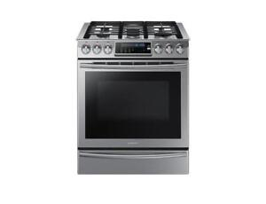 "Samsung 30"" 5.8 Cu. Ft. True Convection 5-Burner Slide-In Gas Range - Stainless Steel (SAM986)"