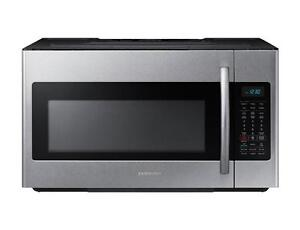 93-  NEUF -  NEW  Micro-Ondes avec Hotte STAINLESS SAMSUNG with Hood Microwave
