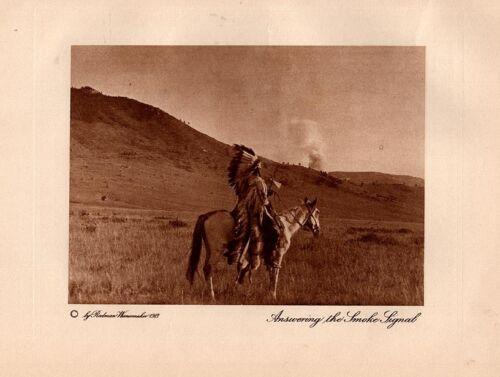 Vintage Wanamaker Indian Photogravure #1 - Answering the Smoke Signal