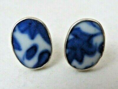 Vintage 925 Sterling Silver Blue & White Porcelain Earrings Posts Studs