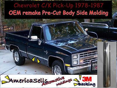 178-87 CHEVROLET C/K CHROME CUSTOM BODY SIDE MOLDING GM PRECUT Dual gas Long bed