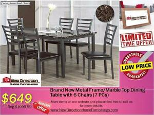 Brand New 7PCS Metal/Marble Top Dining Set@New Direction Home Furnishings