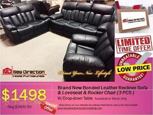 Brand New 3pcs Bonded Leather Recliner Set Blowout@New Direction Home Furnishings