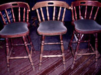 TALL CAPTAIN'S PUB STOOLS WITH BACKRESTS: MICROPUB, MAN CAVE, HOME BAR, SHED, RESTAURANT POOL CLUB