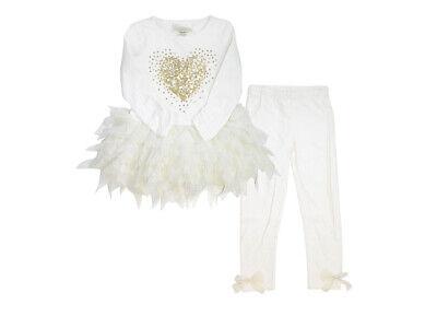 Biscotti Girls' 2 Piece Set Melting Heart LongSleeve Ivory Dress & Leggings.4T,5 2 Piece Long Sleeve Leggings