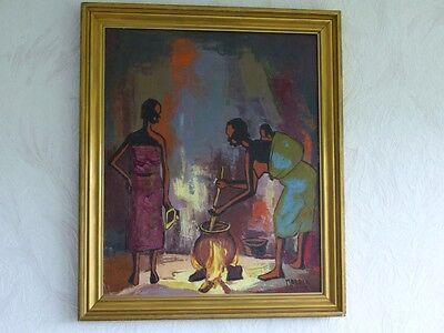 606KW1 Ölgemälde v. MALALA (afrikanischer Maler Afrika; Africa, african artist)