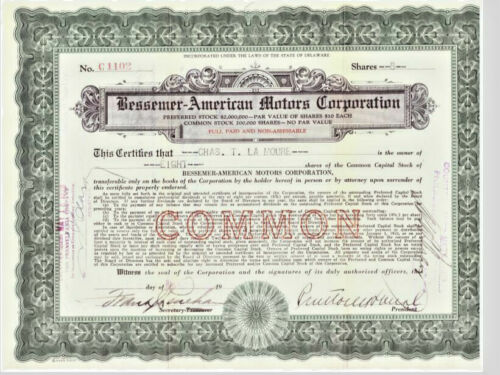 BESSEMER AMERICAN MOTORS CORP Stock Certificate ~ Plainfield, NJ ~ early auto