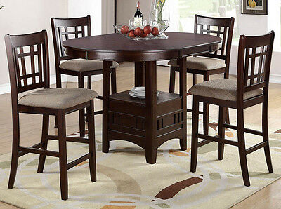NEW BROOKE 5PC CAPPUCCINO BROWN WOOD ROUND OVAL COUNTER DINING TABLE SET CHAIRS