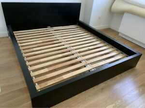 Ikea malm queen bed brown black