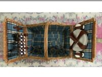 Filled picnic wicker basket 4 persons. Never Used.