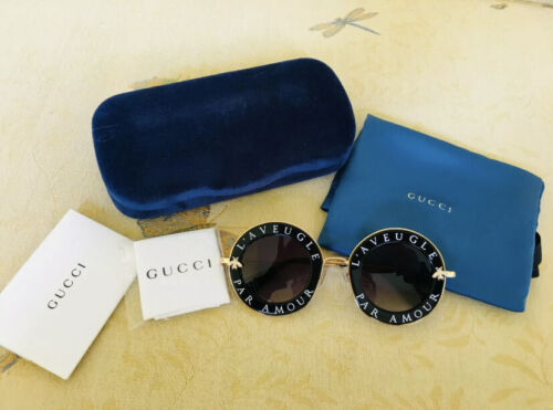 Gucci GG0113S Gradient Round Sunglasses - Black/Gold/Grey