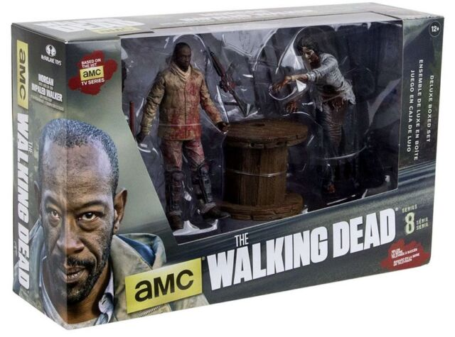 THE WALKING DEAD TV SERIES 8 ACTION FIGURE MORGAN w/ IMPALED WALKER BOX SET