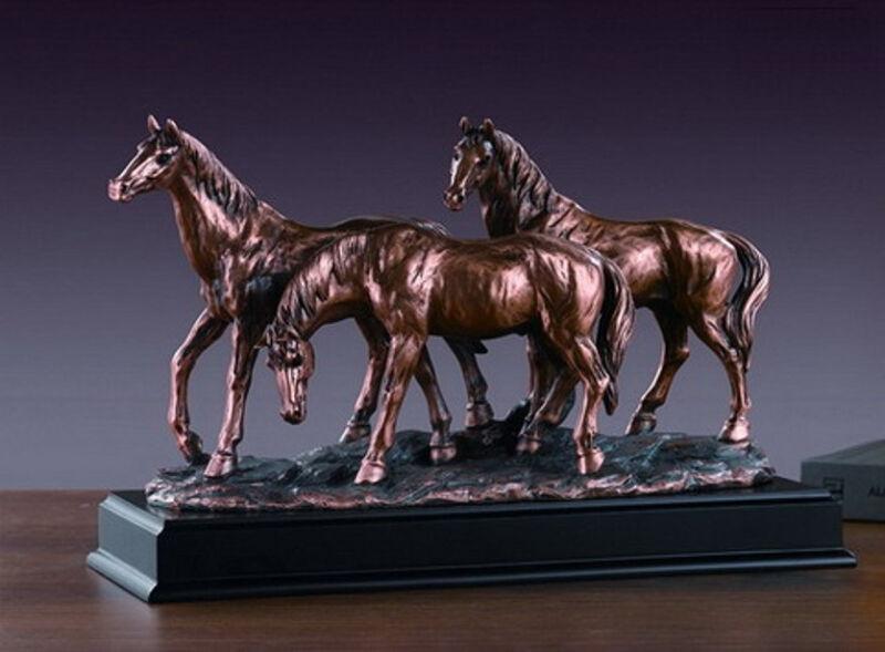 Three Horses Bronze Sculpture 3 Horses  Wild Horse Resin Statue Display Desk