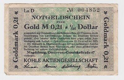 0,21 Goldmark Banknote Magdeburg Kohle AG 15.12.1923 (121747)