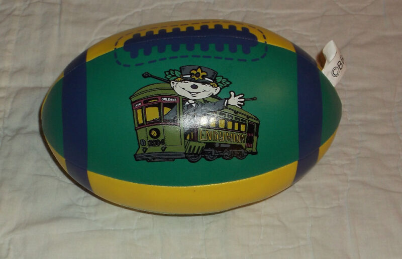 VINTAGE 2004  NEW ORLEANS  KREWE OF ENDYMION  MARDI GRAS 8 INCH PLUSH FOOTBALL