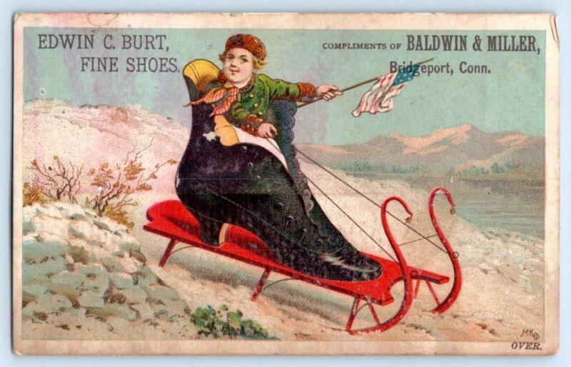 1882 CALENDAR PATRIOTIC AMERICAN FLAG SHOE SLED BALDWIN & MILLER BRIDGEPORT CT