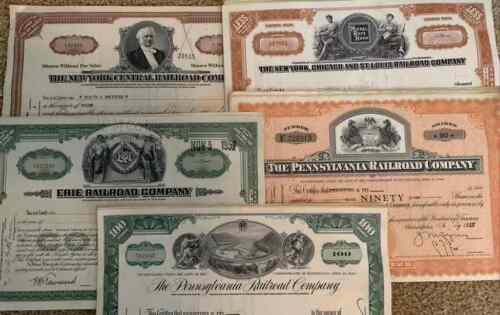 Mixed Lot of 100 Railroad Stock Certificates. 20 pieces each of 5 Varieties