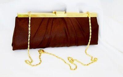 Jessica McClintock Brown Satin Handbag Purse Clutch Bag with Gold Chain