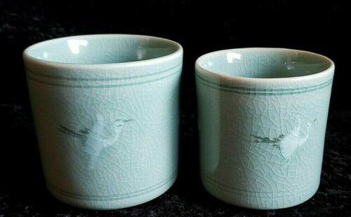 Vintage Celadon tea wine cup set of 2 pair flying crane design signed his & hers