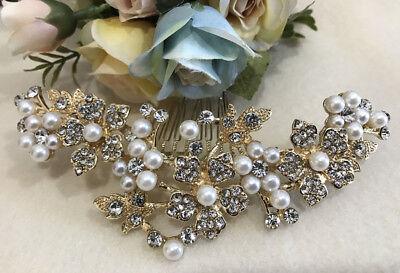 Usa Sell Gold Hair Comb Bridal Wedding Rhinestone Pearl Hair Accessories 9175