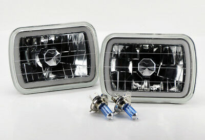 "7x6"" H4 Clear CCFL Halo Glass Headlight Conversion w/ Bulbs Pair RH LH Jeep"