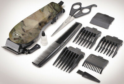 - 10 Piece Camouflage Hair Clipper Set With Adjustable Guard Comb And More