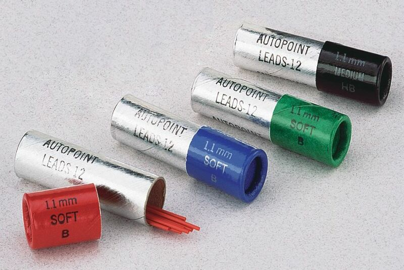 AUTOPOINT PENCIL LEAD REFILL 1.1mm 12 LEADS PER TUBE BLUE BLACK GREEN & RED
