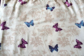 Heavy Pair of Cream lined curtains with blue and purple butterfly,s Butterfly excellent condition