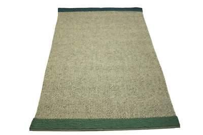 Teppich Schurwolle 160x230 cm 100% Wolle Handgewebt Petrol grün grau