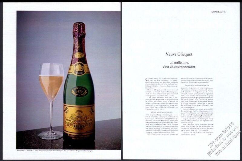 1977 Veuve Clicquot champagne Brut 1970 bottle photo vintage print ad
