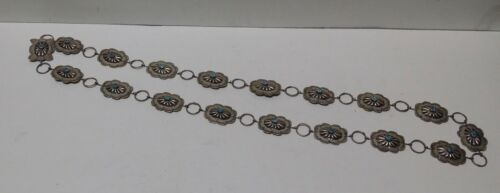 Vintage Navajo Sterling Silver Turquoise Concho Belt