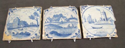 3 Antique 17th - 18th Century Blue and White Delft Tiles