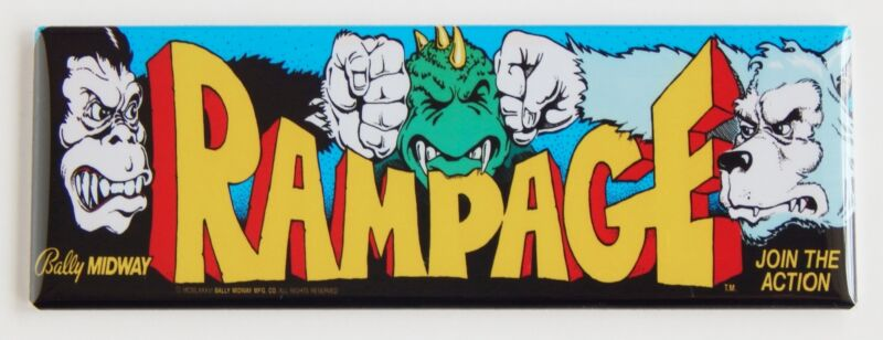 Rampage Marquee FRIDGE MAGNET (1.5 x 4.5 inches) arcade video game godzilla kong