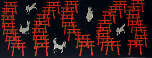 Tenugui Cloth Japanese Fabric Cotton Fushimi Inari Shrine Foxes and Torii Gates