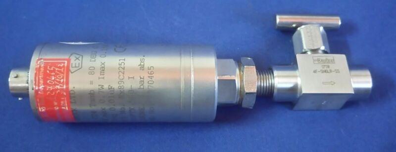 GE Druck PTX 560-I Ex89C2251 Pressure Transmitter 4 bar abs w/Parker 4F-SN6LR-SS